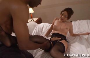 Sexy japanese mature minx is playing with her tits while pussy tester is fucking her
