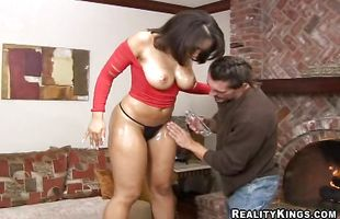 Exquisite cutie Nikara happily impales her nana on a big hard meat member